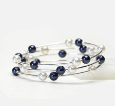 Dark Navy Blue Floating Pearl Memory Wire Bracelet - Navy Blue and White Crystal Pearl Bracelet - Navy Bridal Jewelry $22