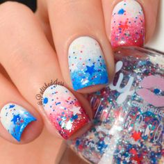 36 Unique Christmas Nail Art Designs For 2019 These trendy Nails ideas would gain you amazing compliments. Check out our gallery for more ideas these are trendy this year. Blue Ombre Nails, White Nails, Beautiful Nail Designs, Cool Nail Designs, Christmas Nail Art Designs, Christmas Nails, Opi, Magic Nails, 4th Of July Nails