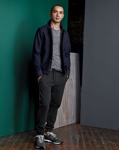SEP '14 Style Guide: J.Crew men's Wallace & Barnes wool deck jacket, slim pieced football tee and the Un-Sweatpant.