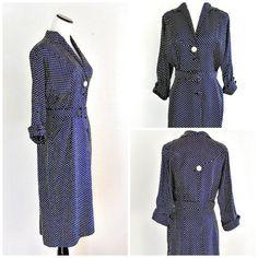Vintage 1940s Day Dress Navy Blue White Polka Dot Grace Fuller Secretary Dress Rayon Size 6