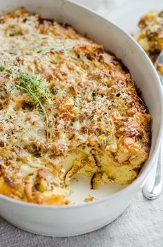 Make Ahead Ham and Cheese Breakfast Casserole Recipe. Use up leftover Thanksgiving, Christmas, Easter -- whatever holiday -- ham with this DELICIOUS EASY breakfast or brunch bake. Great for a crowd of in-laws and overnight guests for parties. It may just be the very BEST brunch of all brunch recipes EVER! Also great for dinners and meals in the evening. You'll need bread, onion, bacon or pancetta, eggs, milk, Gruyère cheese, and a few more ingredients.