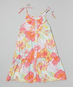 This Pink Floral A-Line Dress - Toddler & Girls is perfect! #zulilyfinds