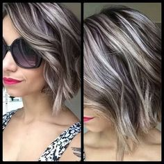 Image result for dark hair with silver highlights