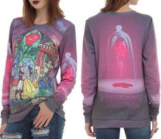 S small~new~Disney~BEAUTY and the BEAST~punk~PULL OVER~stained glass~SWEAT SHIRT