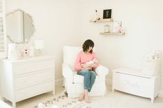 Project Nursery - Glider Nook in Girl's White Nursery with Pink Accents