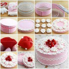 """Dándole nueva vida a una simple cajita de plástico, convirtiéndola en un """"pastel"""", o decorándola de otra forma. Puedes usarla para guardar botones, hilos, o incluso como caja de regalo."""