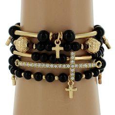 5-Strand Black and Goldtone Beaded Cross Stretch Bracelet