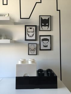Monochrome kids bedroom with superhero theme   bedroom | kidsroom | boys |kids | monochrome | superhero | superheld | ikea |stuva | LEGO | DIY | kinderkamer | washitape | masktape | skyline | barnerom