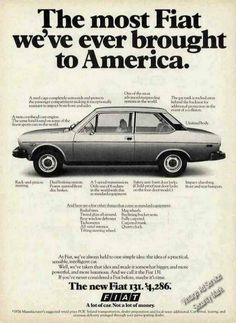 Fiat 131 Fiat Models, Fiat Abarth, Car Advertising, Old Ads, Car Photos, 2000s, Motor Car, Porsche 911, Mobiles