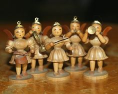 vintage quintet of little wooden christmas angel orchestra band figurines made in germany on Etsy, $19.49