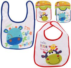 """Little Mimos Baby Bib - 8""""HThese adorable baby bibs keep clothes protected from spills and stains.Colors: White w/PrintsSize: 8""""H X 8.25""""LMaterial: Front - 100% Cotton, Back - 100% PEVA"""