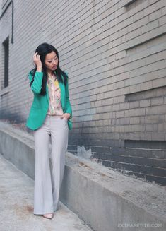 ExtraPetite.com - Green jacket sheer florals (