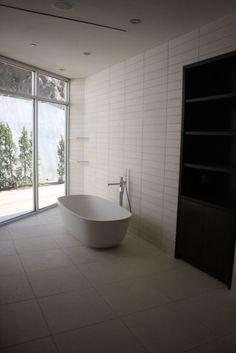 White Limestone Master Bath