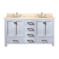 Avanity - Meuble-lavabo double Modero de 60 po blanc avec lavabo double et comptoir en marbre beige au fini Galala (Robinet non inclus) - MODERO-VS60-WT-B - Home Depot Canada