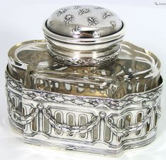 Antique French PUIFORCAT Sterling Silver & Cut Crystal Inkwell, Empire Style - 20th century