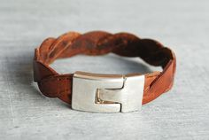 leather bracelet braided // custom length // boho / by picturing, €23.90
