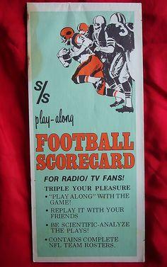 1973 NFL Football Scorecard~TRIPLE Your Pleasure ! www.rubylane.com Ruby Lane #RubyLane - Vintage Football