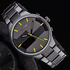 TOMORO 2016 Original Custom Man Digital and Quartz Dual time Sport Watch Men Fashion Metal Steel Relogio LED Watches 5249644 2017 – $39.99