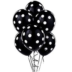12 Black and White Polka Dot Balloons! Qualatex - made in...
