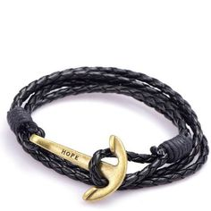 Leather Men Anchor Bracelet