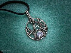 Silver pendant Wire wrapped necklace Swarovski Сrystal pendant