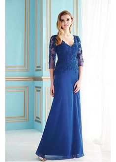 Stunning Silk Like Chiffon A-line V-neck Neckline Full Length Mother of the Bride Dress