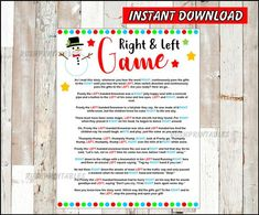 Right & Left Frosty the Snowman Story/Game with red dots, White Elephant Game, Baby or Bridal shower game,family game,Christmas office party Printable Christmas Quiz, Left Right Christmas Game, White Elephant Game, Office Party Games, Christmas Party Games, Holiday Games, Holiday Fun, Frosty The Snowmen, Snowman