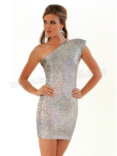Short Foil Spandex Metallic One Shoulder Homecoming Dress