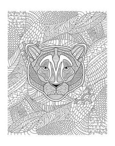 Coloring Poster Tiger Jungle Design Art 56x44in