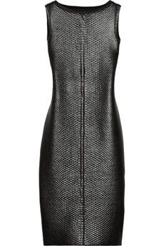 Gucci Lacquered python-effect stretch-knit dress | NET-A-PORTER