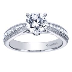 Gabriel & Co. Engaged 14K White Gold Victorian Straight Engagement Ring