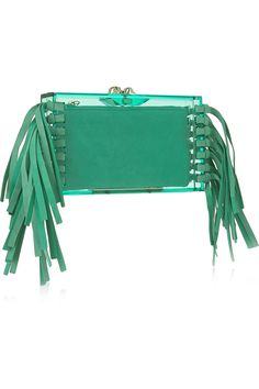 6f68e48320 Peppermint Perspex and leather (Goat) Concealed magnetic fastening at top  Designer color  Dream Green Comes with dust bag