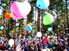 Scouts and guides having a huge balloon party!