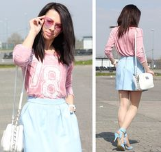 Pastel Pink, Pink Blue, Skirt Fashion, Pastels, Baby Blue, Skirts, Tops, Style, Skirt