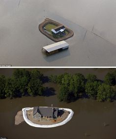 Waterfront is better than waterlogged, reasoned residents facing floodwaters along a smaller tributary of the Mississippi river, many of whom went to great lengths in protecting their properties from rising tides. Inverted moats of muddied sand and dirt stand guard, ringing yards or simply house ...