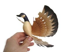 Wood Carved Flying Canada Goose' Wall Art, 26, Left,Figurines, by