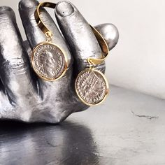 Silver ancient roman coins in 18 Kt gold bracelet Ancient Roman Coins, Ancient Romans, Druzy Ring, Bracelets, Rings, Silver, Gold, Jewelry, Jewlery