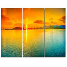 DesignArt Sunset Over Sea Panorama - 3 Piece Graphic Art on Wrapped Canvas Set