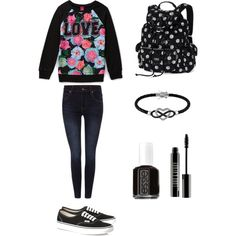 School #6 by amberpend on Polyvore featuring polyvore, fashion, style, Dr. Denim, Vans, Victoria's Secret, Jewel Exclusive, Lord & Berry and Essie