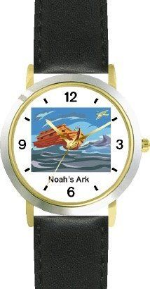 Noah's Ark No.6 - Biblical Theme - WATCHBUDDY® DELUXE TWO-TONE THEME WATCH - Arabic Numbers - Black Leather Strap-Children's Size-Small ( Boy's Size & Girl's Size ) WatchBuddy. $49.95. Save 38% Off!