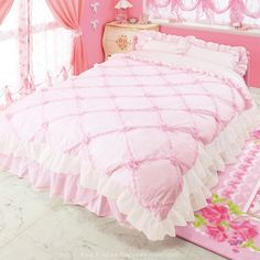 Cute Princess dream - quilted pink bed sheets and bedroom set