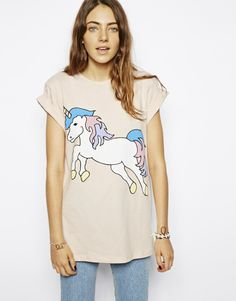 Buy ASOS T-Shirt with Unicorn Print at ASOS. Get the latest trends with ASOS now. High Fashion, Fashion Beauty, Street Fashion, Unicorn Fashion, Girly, Unicorn Print, My Outfit, Dress To Impress, Ideas