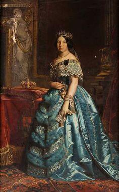 Isabel II. Reina de España entre 1833 y 1868, tras la derogación del Reglamento de sucesión de 1713 por medio de la Pragmática Sanción de 1830.
