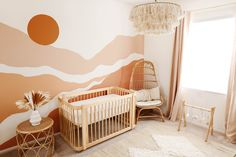 $599 · The Wave Crib, inspired by the movement of the ocean, converts from a mini crib, to full crib, to toddler bed.   A mini-crib, full crib and toddler bed all in one. JPMA Certified to exceed safety standards. Constructed from sustainably harvested solid Brazilian Pine.  Get the look in this gorgeous bohemian nursery by Darina Egstad. Baby Room Decor, Nursery Room, Girl Nursery, Girl Room, Kids Bedroom, Nursery Decor, Baby Room Design, Baby Rooms, Bohemian Nursery