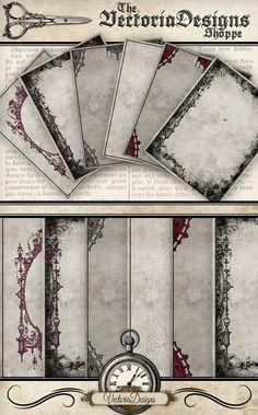 Gothic Stationery writing paper 8.5 x 11 vintage printables digital graphics instant download Digital Collage Sheet - VDSTGO1123