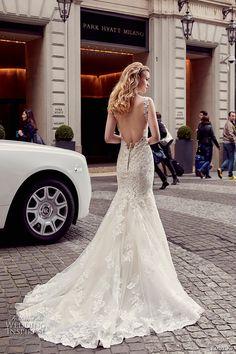 eddy k milano bridal 2017 lace strap v neck heavily embellished bodice elegant mermaid wedding dress low back chapel train (md219) bv