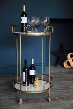 Gatsby Marble & Brass Effect Drinks Trolley - Coffee & Side Tables - Furniture Gatsby, Vintage Drinks Trolley, Bar Trolley, Bar Carts, Cocktail Trolley, Table Furniture, Home Furniture, Bandeja Bar, Reclaimed Wood Furniture