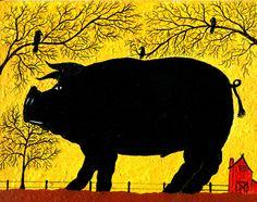 """Richard Chalmers: """" Schwein und Krähen"""" (Das übergroße, völlig schwarze, männliche Schwein in Verbindung mit den Krähen und den schwarzen Bäumen sollen wohl etwas Böses symbolisieren und haben evt. mit sexuellen Schuldgefühlen zu tun. Zu beachten: die durchkreuzten Tür und Fenster des Hauses rechts.)"""