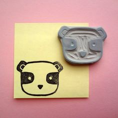 Panda  hand carved rubber stamp by narchitoo on Etsy, $4.00