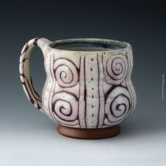 These ceramics by Clara Lanyi feel so good in my hands! White and Purple Satin Matte Spiral Mug claralanyi.com
